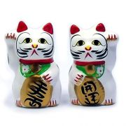 Gato da Sorte Manekineko Japonês Cofre Casal 10 cm / Amuleto da sorte, Colecionismo, Decoração oriental, Prosperidade, Felicidade, Fortuna