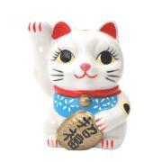 Gato da Sorte Manekineko Cofre c/ Lenço Azul e Koban 9 cm