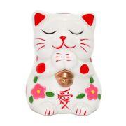 Gato da Sorte Manekineko Cofre Saudação Amor 10 cm