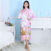 Kimono Oriental Estampado Gueixa Longo Rosa Claro