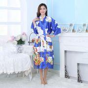 Kimono Oriental Estampado Gueixa Longo Roxo