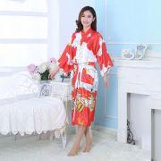 Kimono Oriental Estampa Gueixa Longo Vermelho
