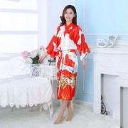 Kimono tipo Japonês Vermelho Longo Estampa de Gueixa, Cetim de Alta Qualidade Suave ao Toque, Elegante Robe Casual