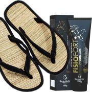 Kit Chinelo de Palha Nylon Preto Liso+ Fisiofort Premium