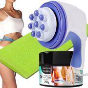 Kit Massageador Orbital 220v + Toalha de Banho Tipo Japonesa + Gel Lipo Redutor Mary Life - Drenagem Linfática p/ Celulite e Flacidez, Relaxe Músculos, Combate Gordura Local, Perca Peso c/ Saúde