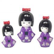 Kokeshi Trio Laço Roxo