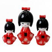 Kokeshi Trio Laço Vermelho