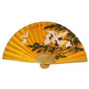 Leque de Parede 160 x 90 cm Amarelo / Tsuru com Bonsai
