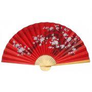 Leque de Parede 160 x 90 cm Vermelho / Flor de Cerejeira Sakura