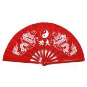 Leque Tai Chi Bambu Dragão Ying Yang Vermelho  34 cm