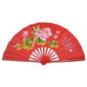 Leque Taichi Bambu Floral Vermelho 35 cm