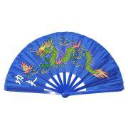 Leque Tai Chi Poliuretano Dragão Azul 34 x 63 cm
