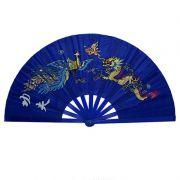 Leque Tai Chi Poliuretano Fênix e Dragão Azul 34 x 63 cm
