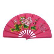 Leque Tai Chi Poliuretano Floral Peônia Rosa 34 x 63 cm