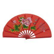 Leque Tai Chi Poliuretano Floral Peônia Vermelho 34 x 63 cm