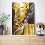 Quadro Buda Zen Acrílico sobre tela Pintado à Mão 60 x 40 cm / Decoração Oriental, Arte, Estampa Japonesa, Pintura Artesanal