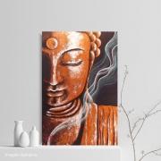 Quadro Buda Meditação Cobre - Acrílico sobre tela Pintado à Mão 60 x 40 cm / Feng Shui, Decoração Oriental, Arte, Estampa Japonesa, Pintura Artesanal