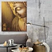 Quadro Buda Gratidão Acrílico sobre tela Pintado à Mão 80x70cm