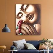 Quadro Buda Sépia Japamala Acrílico sobre tela Pintado à Mão 100x80cm