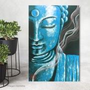 Quadro Buda Meditação Turquesa - Acrílico sobre tela Pintado à Mão 60 x 40 cm / Feng Shui, Decoração Oriental, Arte, Estampa Japonesa, Pintura Artesanal