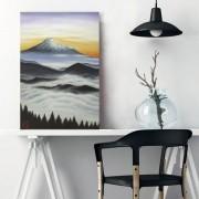 Quadro Estilo Japonês Monte Fuji ao Amanhecer Óleo sobre Tela Pintado à Mão 60x40cm
