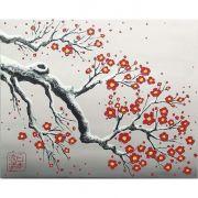 Quadro Estilo Japonês Sakura Flor de Cerejeira Pintado à Mão / Decoração Oriental, Arte, Estampa Japonesa