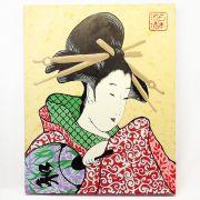 Quadro Estilo Japonês Ukiyo-e Gueixa Pintado à Mão / Decoração Oriental, Arte, Estampa Japonesa, Pintura Artesanal