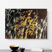 Quadro Estilo Sumiê Japonês Bambu Pintado à Mão 40x30 cm / Decoração Oriental, Arte, Estampa Japonesa, Pintura Artesanal