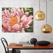 Quadro Flor do Oriente Peônia Óleo em Tela Pintado à Mão / Decoração Oriental, Arte, Estampa Japonesa