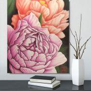 Quadro Flor do Oriente Peônias Óleo em Tela Pintado à Mão / Decoração Oriental, Arte, Estampa Japonesa