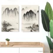 Quadro Paisagem Oriental Díptico Acrílico Pintado à mão  Estilo Sumiê 80x60 cm / Decoração Oriental, Arte, Estampa Japonesa, Pintura Artesanal