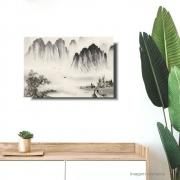 Quadro Paisagem Oriental Minimalista Estilo Sumiê Acrílico sobre tela Pintado à Mão 60x40 cm / Feng Shui, Decoração Oriental, Arte, Estampa Japonesa, Pintura Artesanal
