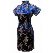 Vestido Chinês Curto Tradicional  Azul c/ Dragão e Fênix