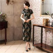 Vestido Chinês Longo Tradicional Preto Floral Fênix e Dragão