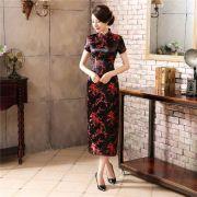 Vestido Chinês Longo Tradicional Preto c/ Flor de Cerejeira