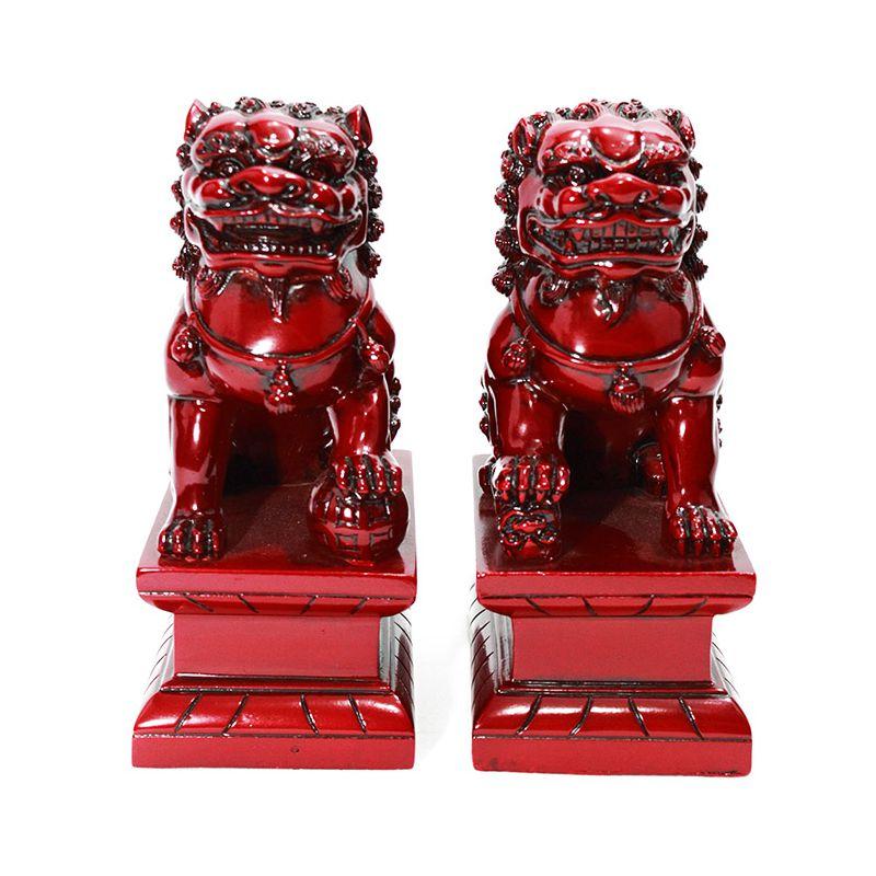 Leão Guardião Shisa Vermelho 14 x 16cm