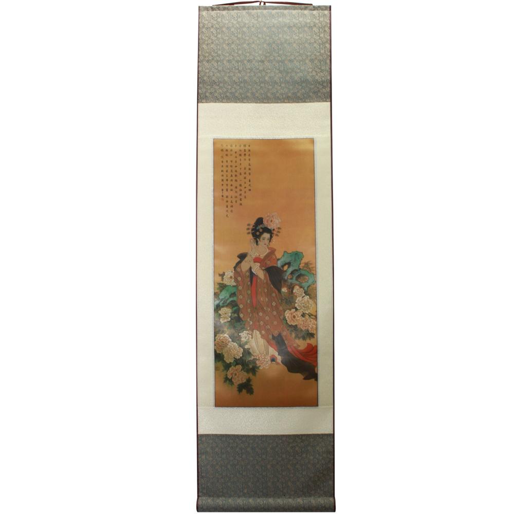 Painel Chinesa Vestido Marrom 32 x 120cm