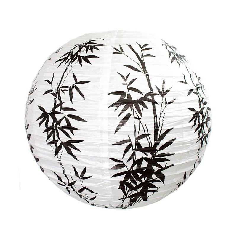 Luminária Oriental Bambu Preto 30 cm