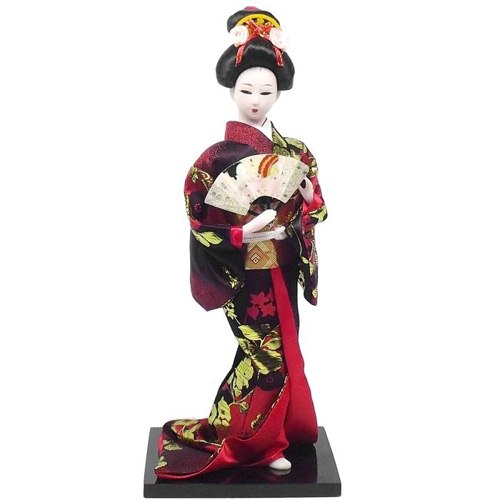 Boneca Gueixa Leque Kimono Preto c/ Vermelho