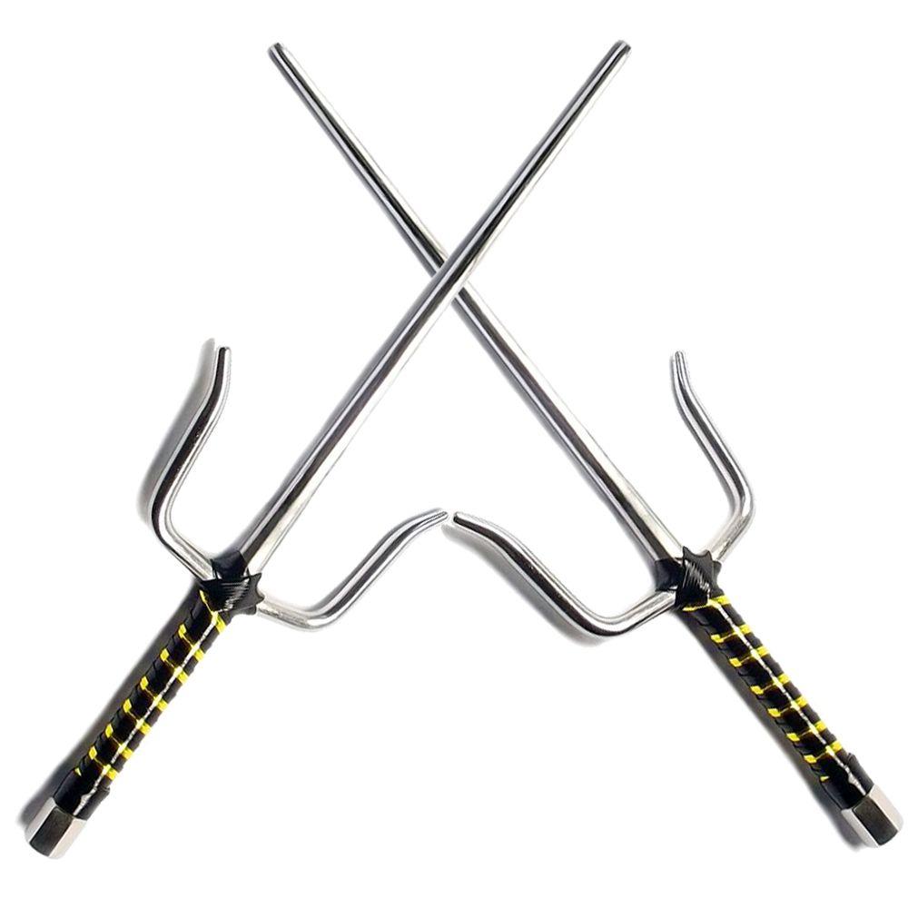 Adaga Sai Tradicional Cromada Facetada p/ Treino Funcional (par) / Kobudo, Karate, Ninjutsu, Taekwondo, Bujutsu