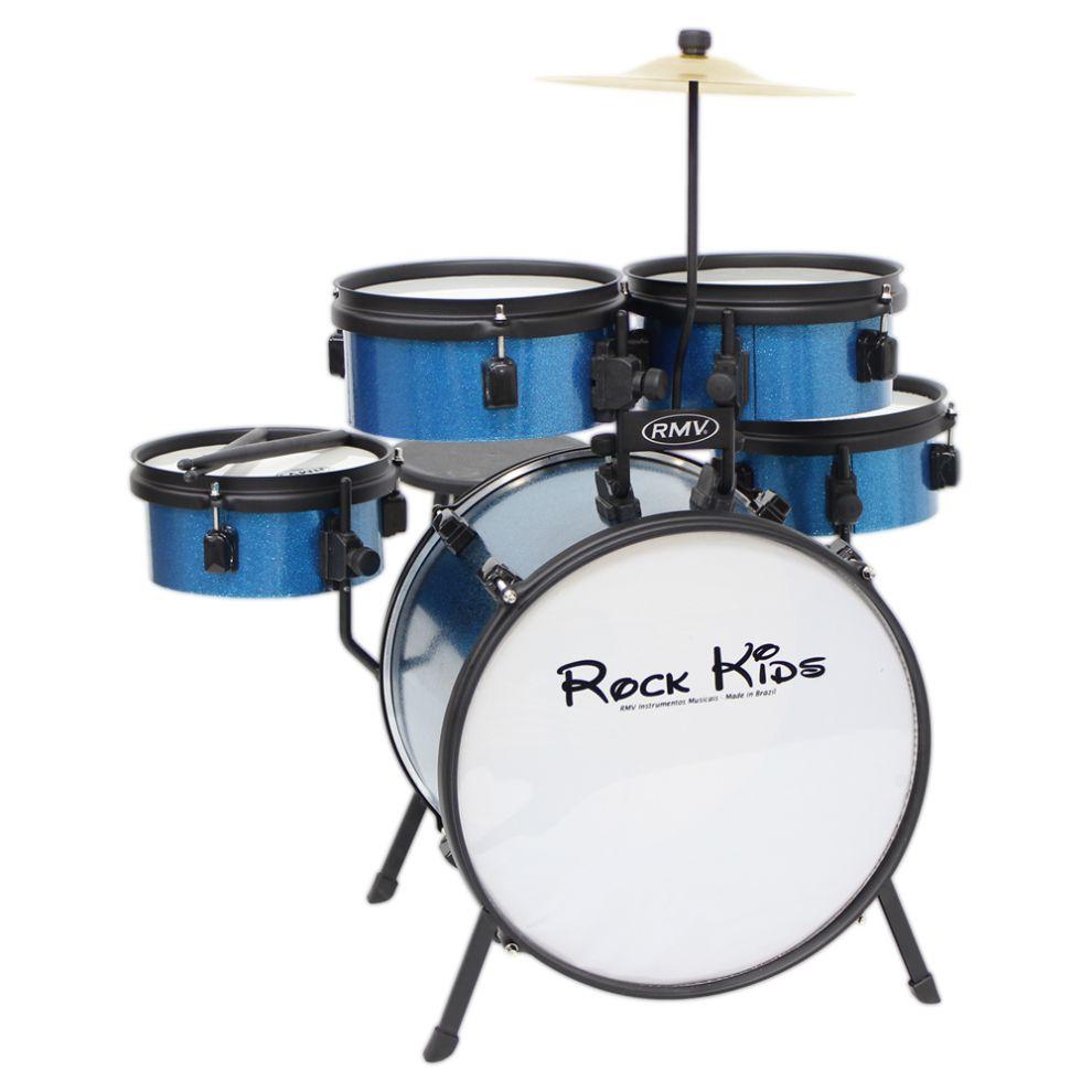 Bateria Infantil Rock Kids, com banco, Prato e 1 par de Baquetas - PBKD14016 Azul