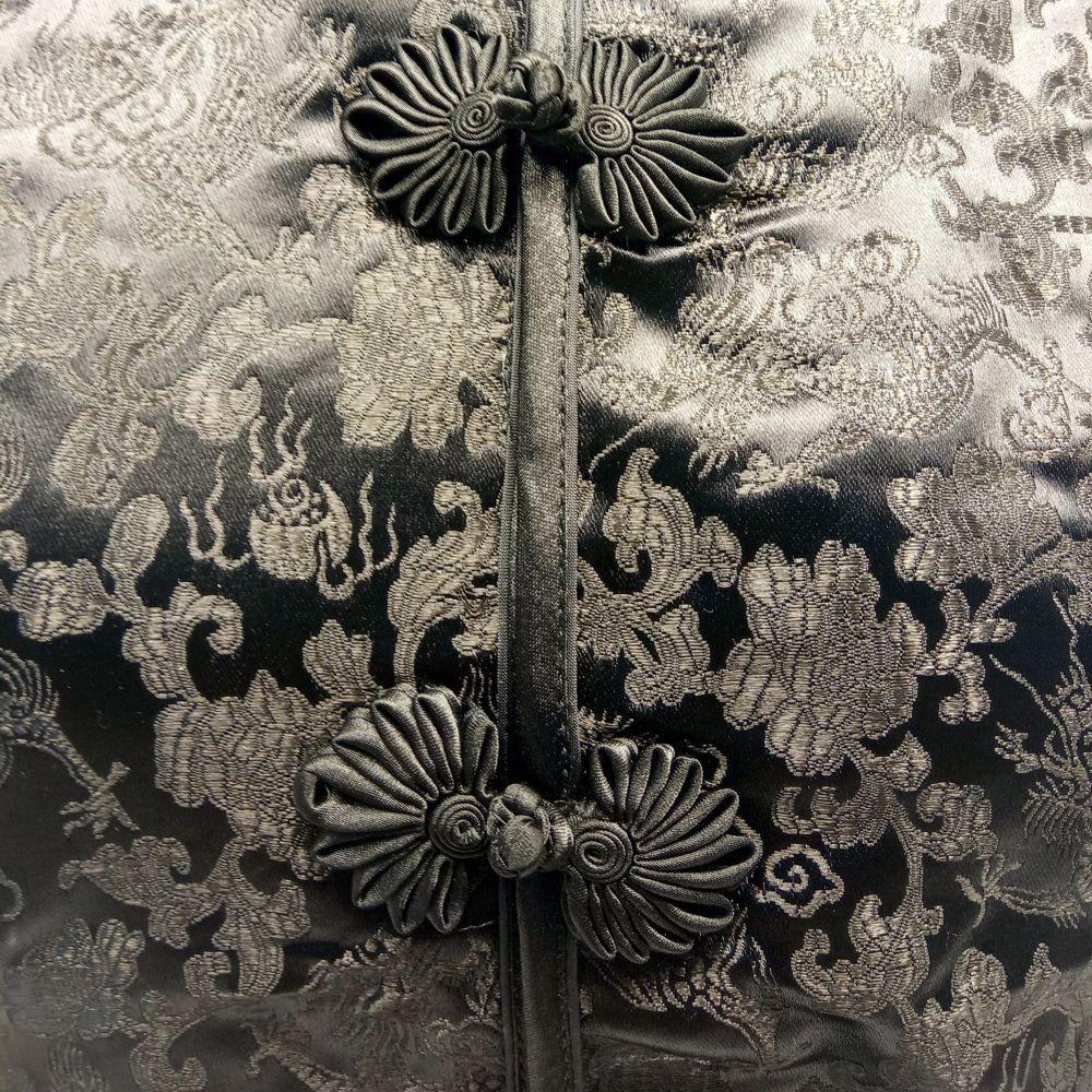 Blusa Chinesa Tradicional Preta Dragão e Fênix