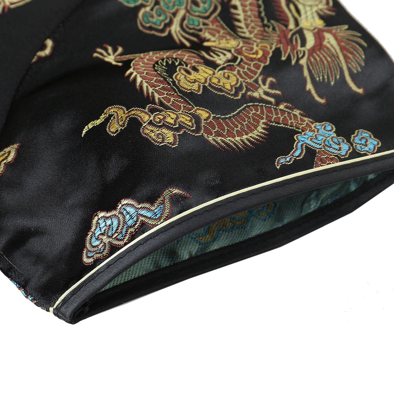 Blusa Chinesa Tradicional Preta Dragão Fênix