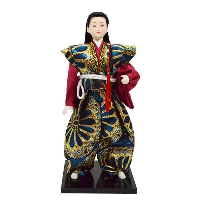 Boneco Samurai Kimono Azul / Vermelho 28cm