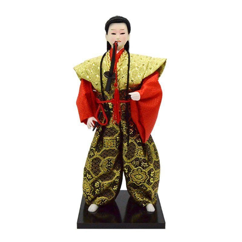 Boneco Samurai Kimono Dourado/Vermelho 28cm