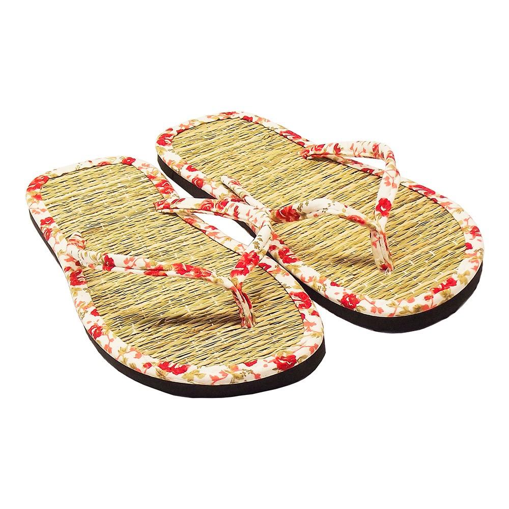 Chinelo de Palha Japonês em Tricoline Floral Vermelho / Sandália Zori / Lavável, Leve e Fresca / Combinam com qualquer ocasião