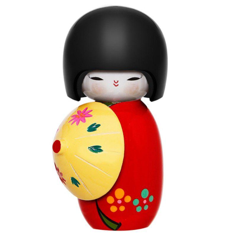 Chinelo de Palha Tricoline Poá Vermelho + Kokeshi Sombrinha Vermelha