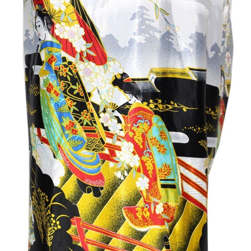 Kimono Oriental Estampado Gueixa Longo Preto