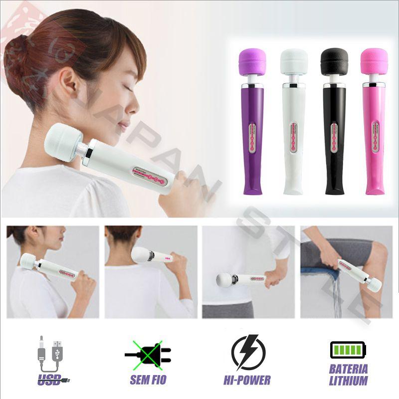 Massageador Terapêutico Magic Wand Elétrico Branco 36 cm USB Recarregável + Bolsinha Tactel / 10 vibrações, Alta Frequência 9.000 RPM / Varinha Mágica / Alivia tensão, dores, fadiga