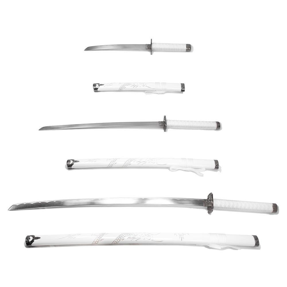 Espada Katana Ryuhaku Branca - conj. 3 pcs Tanto, Wakizashi e Daito + Suporte + Lubrificante  / Decoração, Cosplay, Colecionismo